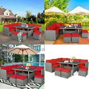 7 Pcs All-weather Patio Rattan Dining Furniture Sectional Sofa Set With Wicker O
