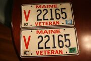 Lot Of 2 Maine Veteran License Plates 22165 1999 And 2002