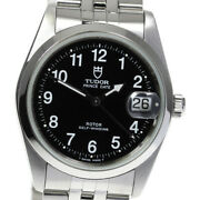 Auth Tudor Watch Date Cal.2824-2 74000 Automatic Ss Black Case34mm F/s