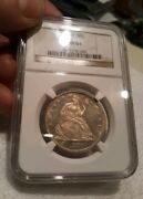 1877 50c Seated Liberty Half Dollar Ngc Ms-61 Great Black And White Contrast Dmpl