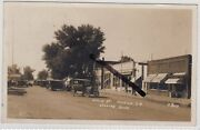 Marion South Dakota Usa Rp Postcard Of Main Street With Shops And Old Cars C.1928