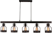 Unitary Brand Antique Black Metal Long Dining Room Pendant Light Fixture With 5