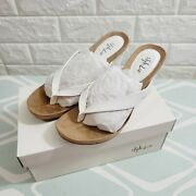 Style And Co Women's Round Toe Flip Flop Wedges Sandals Tan/white Size 6m