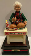 Vtg Musical Mrs Claus Turkey Christmas Meal Light Up 1996 Noel Holiday Creations