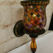 Partylite Global Fusion Mosaic Wall Sconce Pillar Or Candlestick Candle Holder