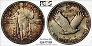 1927 Standing Liberty Quarter - Pcgs Ms65 - Colorful Toning - Pcgs Trueview