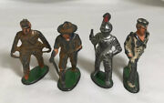 4 Vintage Unmarked Toy Lead Soldier, Knight, Sailor, Scout Lot, Barclay