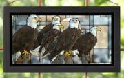 Larry Beckstein Board Of Directors Bald Eagles Framed Stained Glass Window Panel