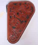 Hand Crafted Tooled Brown Leather Pistol Gun Case Fleece Lined Western Floral