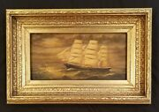 Antique Ship Original Oil Painting Clipped Ship Seascape Maritime Painting