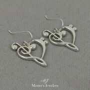 925 Sterling Silver Treble And Bass Clef Heart Earrings