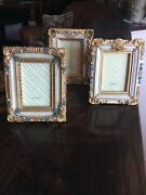 Vintage Victorian Anti Look Set - 3 Photo Picture Frames 2 1/2 By 3 1/2 Photo