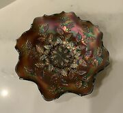 """Antique Fenton Carnival Glass Pattern Holly Bowl Plate Cobalt Blue 9"""" Wide"""