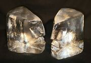 Vintage Pair Of Signed Eric Hoglund Abstract Face Sculptures For Kosta Boda
