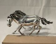 Pair Of Galloping Horses Silver Laminato Figurines Stamped 840 Italy Or Portugal