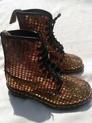 Dr. Martens Metallic Copper And Gold Sequin Boots Size 7 Excellent Condition