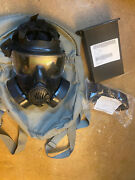 Used Avon M50 Gas Mask W/ Carrying Case Sz Medium New Canister Filter And New Lens