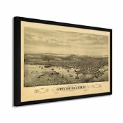 1878 Seattle Map Poster - Framed Vintage Map Of Seattle Wall Art Poster
