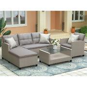 Couch Sets 4 Pcs Wicker Ratten Sectional Couches Sofa For Living Room Sofas