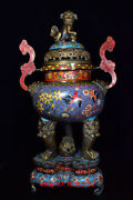 Old Chinese Antiques Pure Copper Cloisonne Wishful Thinking Ear Incense Burner