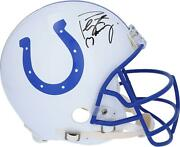 Peyton Manning Indianapolis Colts Signed Throwback Auth Helmet And Blue Facemask