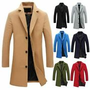 Menand039s British Jacket Outwear Casual Wool Blend Trench Overcoat Warm Long Coat
