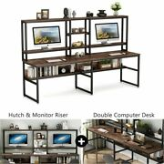Computer Desk With Storage Shelves Two Person Side By Side Working Desk W/ Hutch