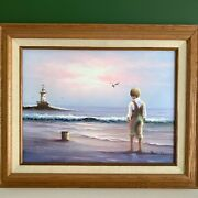 """Paul Jensen Signed Oil Painting Boy At The Beach Lighthouse Ocean 21 X 17"""""""