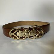 Hickok Belt Makers Brown Antiqued Cowhide Leather Belt Brass Buckle Size Size S
