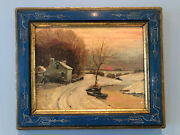 Vintage Oil Painting On Board Snow Scene Winter Sunset In Blue Scroll Frame