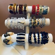Stretch Bracelet Lot Bead Lucite Mop Vintage To Now Assorted Lot Of 28