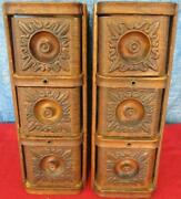 Vintage Drawers And Frames From A Singer Treadle Cabinet Drawers Oak Ornate 1920