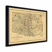 1887 Indian Territory Map - Framed Vintage Indian Territory Oklahoma Wall Art