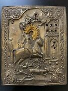 Xix Century Russian Orthodox Icon St.george With Dragon And Saints Silver Oklad