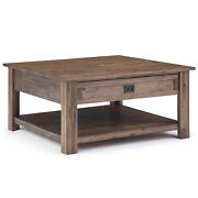 Monroe Solid Acacia Wood 38 Inch Wide Square Rustic Coffee Table In Rustic Na...