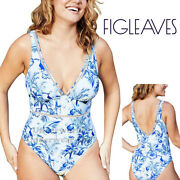 Figleaves Toulouse Non Wired Tummy Control Plunge Ladder Swimsuit Blue/white
