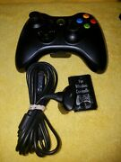 Oem Microsoft Xbox 360 Wireless Black Controller + Charging Cable And Pack 2