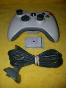 Xbox 360 Wireless Controller White Original Official Charging Cable Usb Pack 2