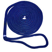 New England Ropes 3/8 X 15and039 Nylon Double Braid Dock Line - Blue W/ Tracer