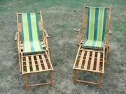 Lot 2 Antique Telescope Folding Furniture 🔥 Wood Chaise Lounge Chair New York