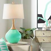 Modern Table Lamp Turquoise Glass Wood For Living Room Family Bedroom Bedside