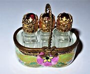 Limoges France Box - Floral Basket And Three Perfume Bottles - Pink Flowers