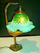Old Bronze Italy Bird Lamp With Fenton Green Hobnail Opalescent Glass Shade