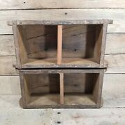 X2 Primitive Rustic Painted Country Display Wall Plate Shelf Farmhouse Shelves