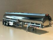 New Chrome And Silver Dcp 1/64 Heil Fuel Tanker Trailer W/ Chrome Tool Boxes