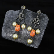 Coral Carving Gemstone South Sea Pearl Earringsunique Style Victorian Earring.