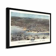1868 Chicago Map - Framed Vintage Chicago Map Wall Art Poster