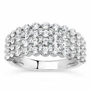10k White Gold White Diamond Cluster Ring Gift Ct 1.4 H Color I3 Clarity