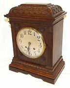 Antique Lenzkirch Carved Oak Bracket Clock Cleaned And Serviced