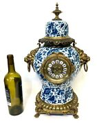 Massive Antique Chinese Blue And White And Gilt Bronze Mounted Bracket Mantel Clock